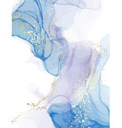Marble blue watercolor pattern deep sea color vector