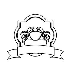 Monochrome line contour with emblem crab and vector