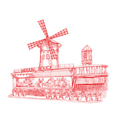 Moulin rouge in red colors vector
