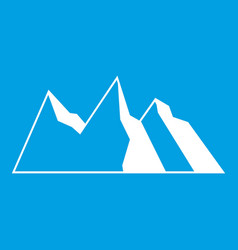 Mountains icon white vector