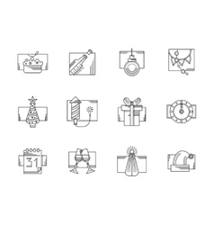 New Year party black line icons set vector image