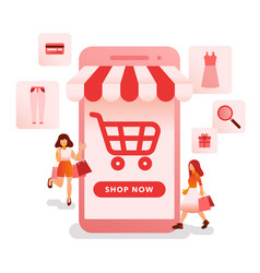 online shopping with mobile phone vector image
