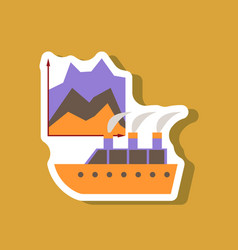 Paper sticker on stylish background cruise ship vector