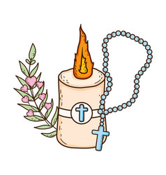 Paschal candle sacred with rosary vector