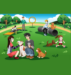 people in a dog park vector image