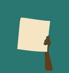 protest afro black skin hand holding blank banner vector image