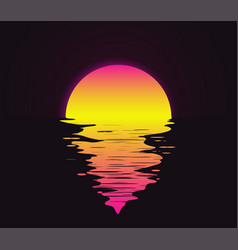 retro vintage styled bright sunset with vector image