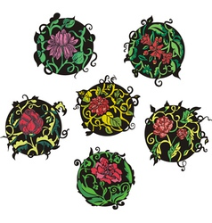 Round red flower designs vector