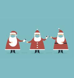 Santa claus characters wearing protective masks vector