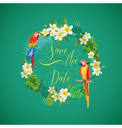 Save the Date Tropical Flowers Card vector image