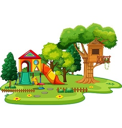 Scene of park with treehouse and slides vector