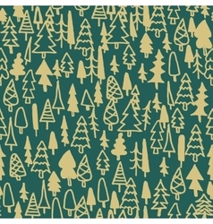 Seamless pattern hand drawn pine forest vector