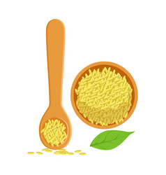 Sesame seeds in a wooden bowl and spoon herbs and vector