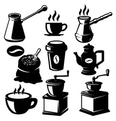 set coffee shop design elements coffee beans vector image