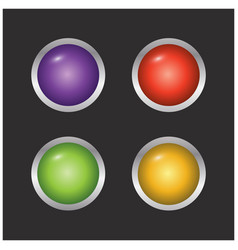 set of 4 coloured buttons on black background vector image