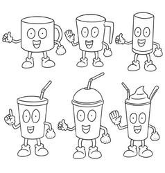 set of beverage cup vector image