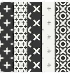 Set of hand drawn geometric seamless ink pattern vector