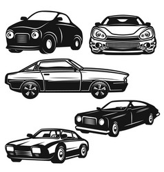 set of retro car on white background design vector image
