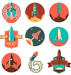 Set of the rocket labels vector image