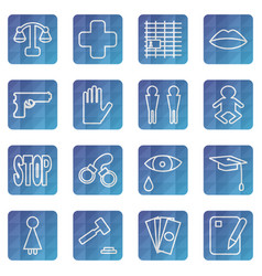 Set of web icons of the concept of social problems vector