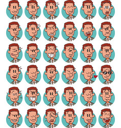 Set of young businessman emojis vector