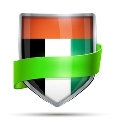 Shield with flag UAE and ribbon vector