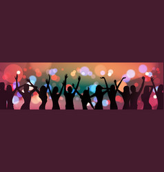 Silhouette people dancing over holiday firework vector