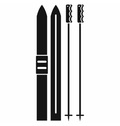 Skis with sticks icon black simple style vector
