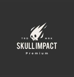 Skull impact meteor hipster vintage logo icon vector