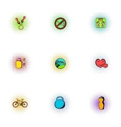 Sport icons set pop-art style vector