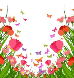 Spring flower and butterfly vector