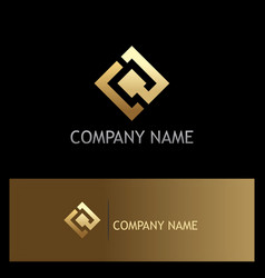 Square gold technology logo vector