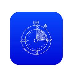 Stopwatch icon blue vector