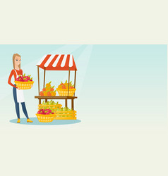Street seller with fruits and vegetables vector
