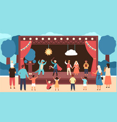 street theatre for children with actors dressed vector image