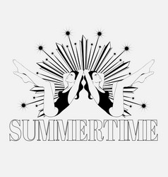 summertime hand drawn girls in vector image