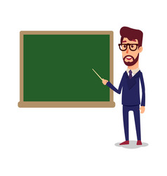 the teacher in the classroom near the blackboard vector image