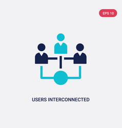 Two color users interconnected icon from business vector
