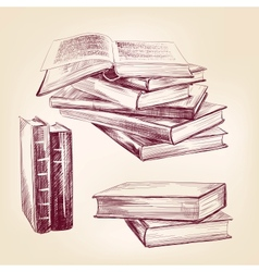 Vintage old books hand drawn set vector