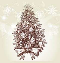 Vintage style christmas tree vector