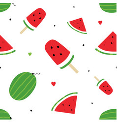 Watermelon slices and watermelon popsicles pattern vector