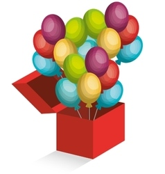Wonder box with balloons vector