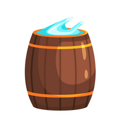 Wooden barrel with water part of russian steam vector