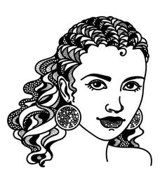 Zentangle stylized girl vector image