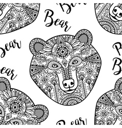 Black doodle bear face seamless pattern vector image vector image