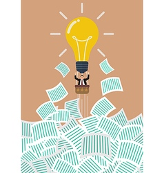 Businessman on lightbulb balloon get away from a vector image