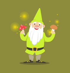 cute smiling dwarf standing and holding mushrooms vector image vector image