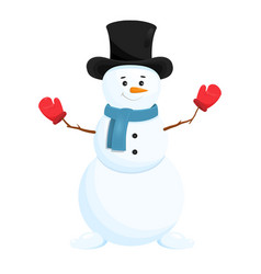 funny snowman in hat vector image