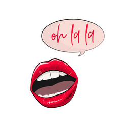 lips stickers fashion glamour pink sexy vector image vector image