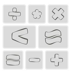Monochrome icons with arithmetic symbols vector